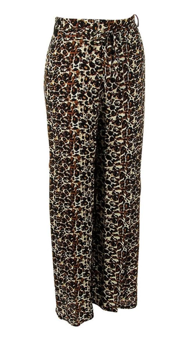 Carmel Leopard Print Pants Front Tie Pants