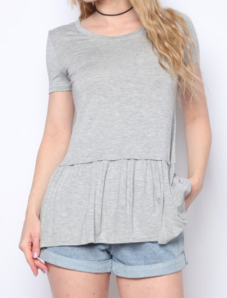 Heather Gray Striped Knit Top