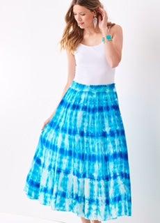 Turquoise & White Tie Dye Stretch Waist Skirt