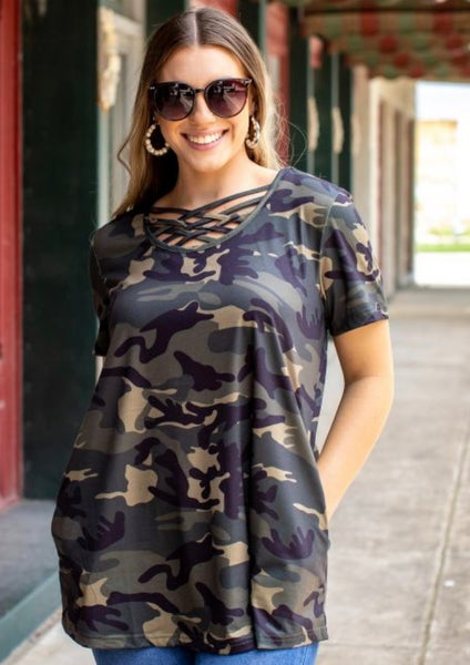 Camo Caged Neck Short Sleeve Top