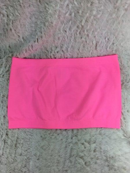 Neon Pink Bandeau Bra - ONE SIZE