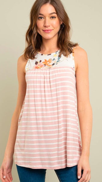 Peach Striped Tank Top with Floral Contrast