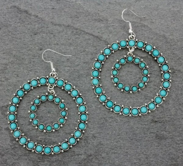 Double Round Hoop Turquoise Earrings