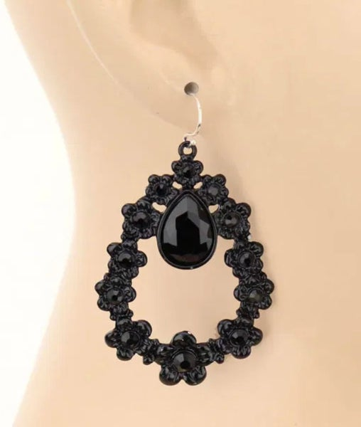 Solid Black Floral Teardrop Crystal Earrings
