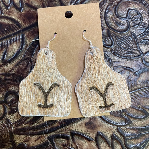Yellowstone Brindle Branded Leather Cow Tag Earrings #5