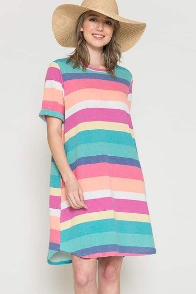 Summer Sherbert Striped Short Sleeve Shift Dress with Pockets