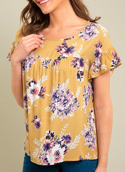 Mustard Floral Ruffle Sleeve Top