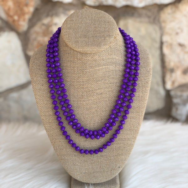 "Purple 60"" Crystal Beaded Necklace"