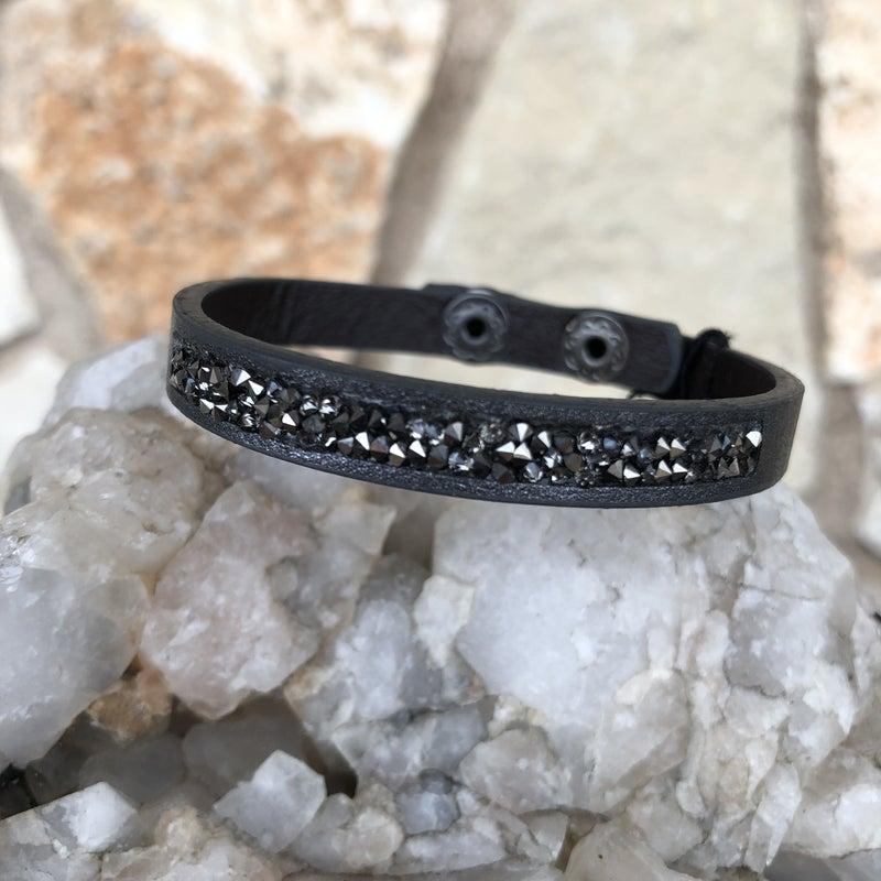 Black Leather Snap Crystal Bracelet