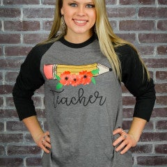 Charcoal Teacher Black Sleeve Raglan Tee