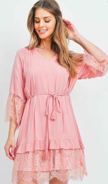 Blush V-Neck Lace Trim Dress
