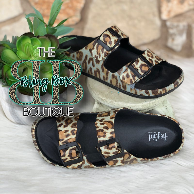 Corkys Hey Girl Leopard Waterslides w/adjustable Buckle