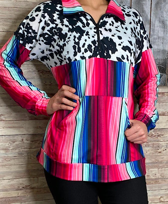 Blue & Pink Mix Serape & Cow Print Zip Up Pullover