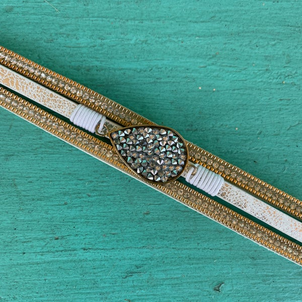 Silver Teardrop Rhinestone Leather Magnetic Bracelet