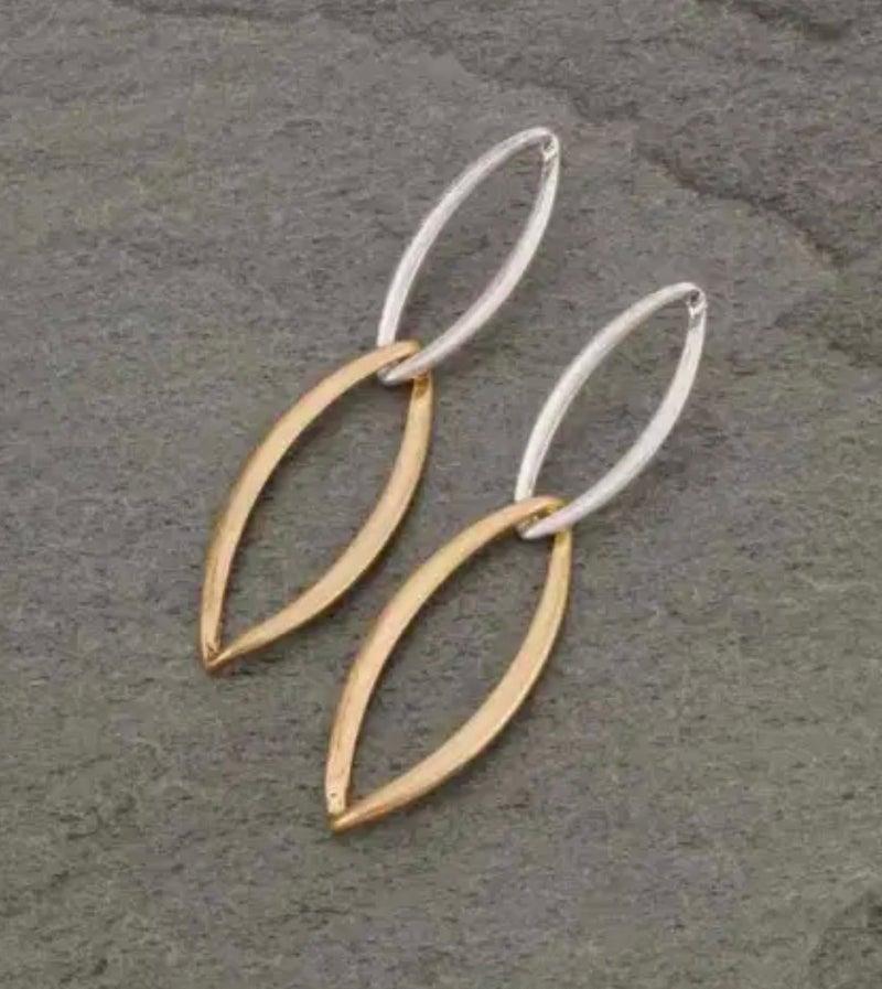 Double Knot Silver & Gold Dangle Earrings