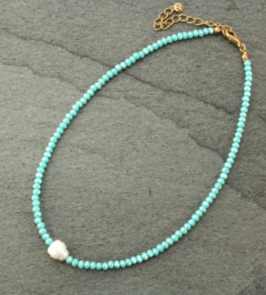 Mint Crystal Choker with Fresh Water Pearl Necklace