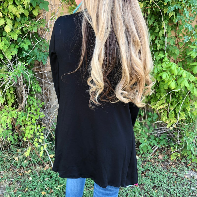 Black Long Sleeve Plaid Accent Cardigan