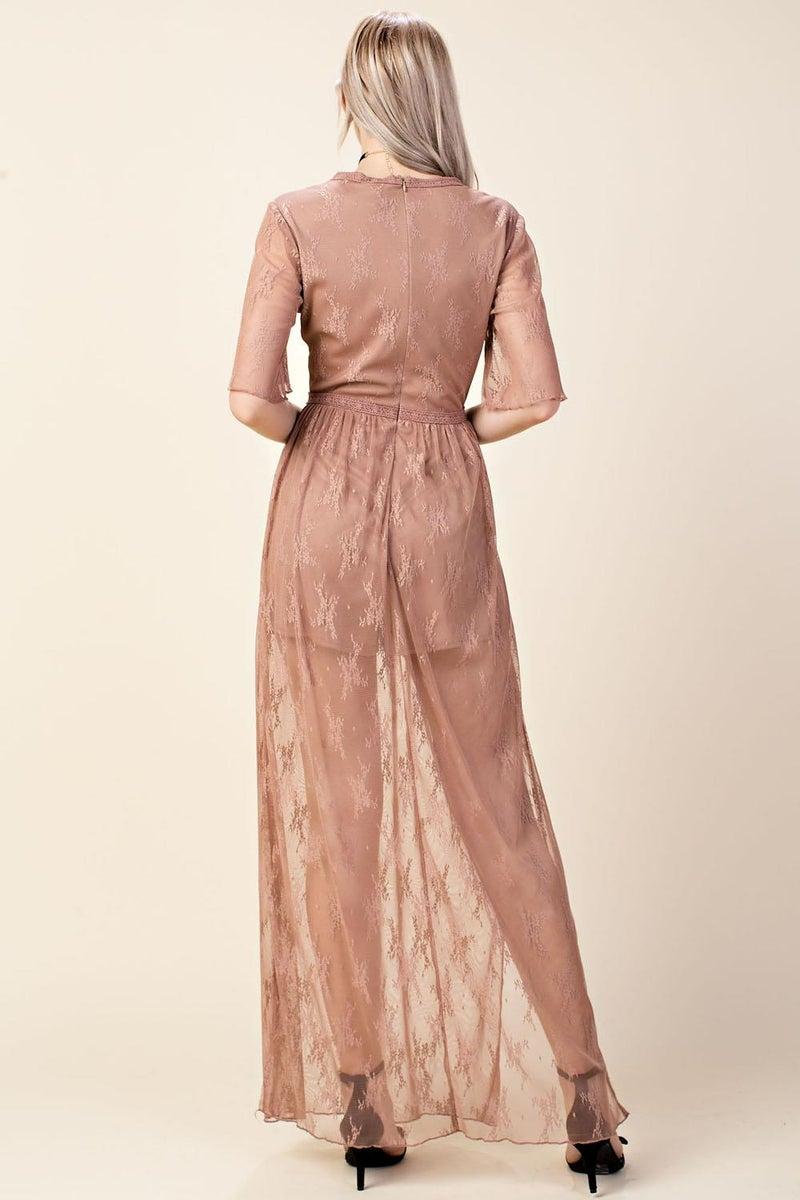 Mocha Embroidered Romper Mesh Maxi Dress
