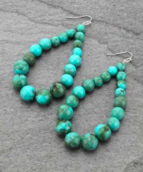 Turquoise Marble Beaded Teardrop Earrings