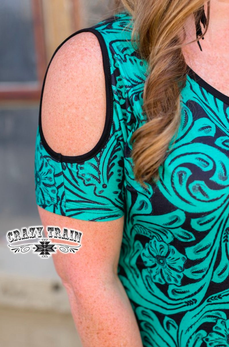 Cow Town Babe Turquoise Tooled Cold Shoulder Top