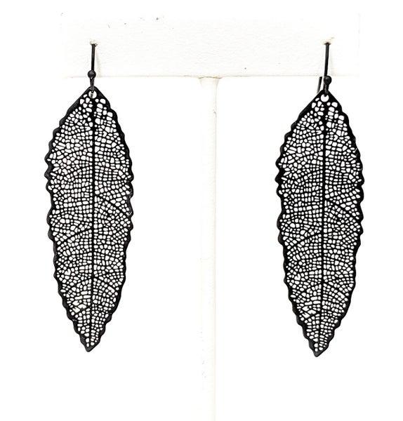 Black Long Leaf Filgree Style Autumn Earrings