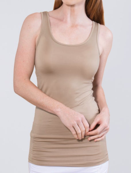 Taupe Reversible Scoop/V-Neck Tank