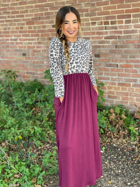 Leopard Maroon Maxi Dress with Pockets
