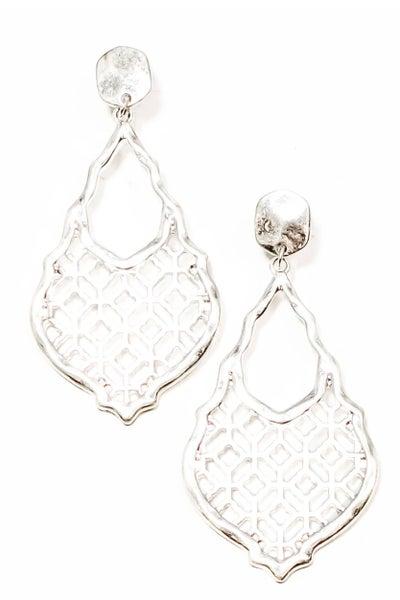 Silver Ava Damask Filgree Earrings