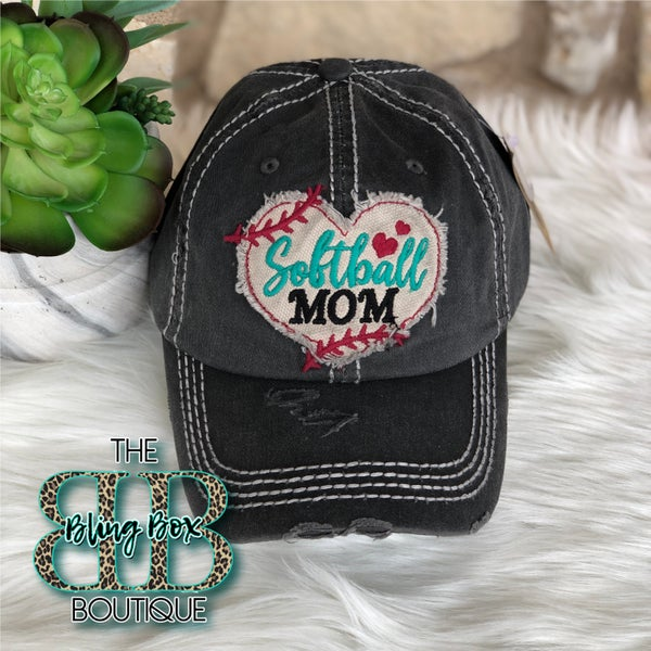 Embroidered Softball Mom on Charcoal Distressed Hat