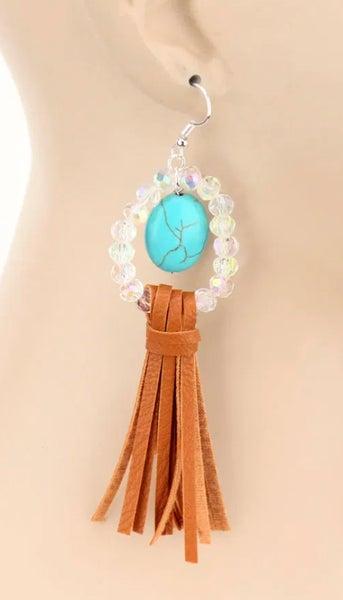 Glass Bead & Turquoise Stone Tassel Dangle Earrings