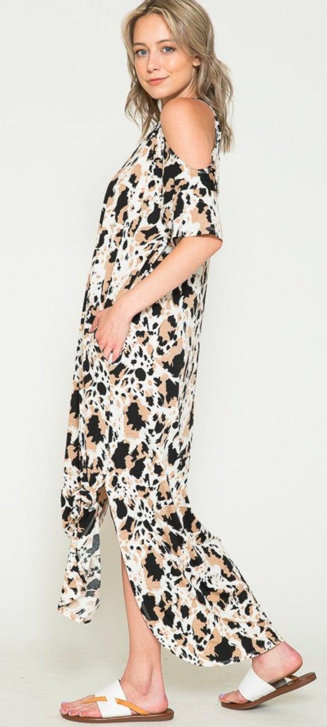 Western Cowhide Mix Cold Shoulder Maxi Dress