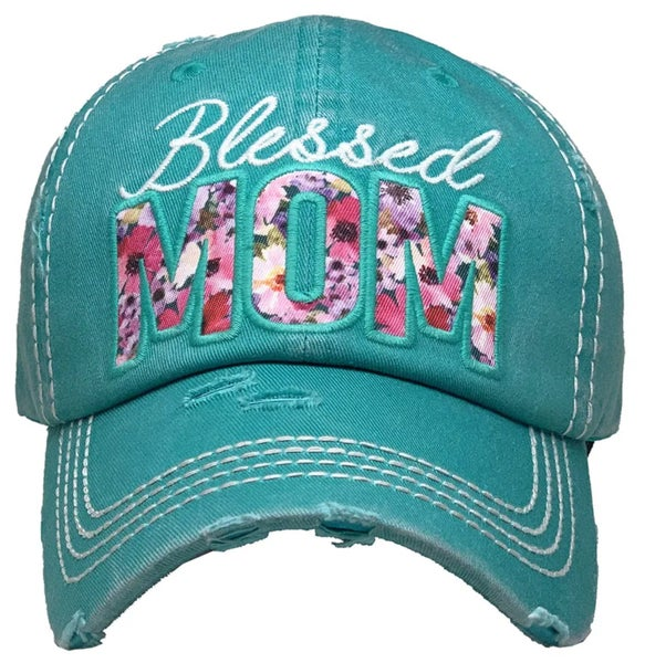 Blessed Mom Floral Embroidered Turquoise Hat