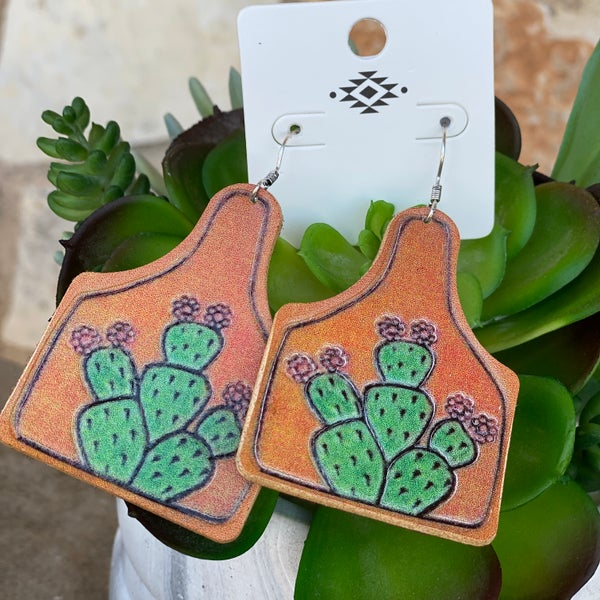 Leather Ear Tag Cactus Earrings