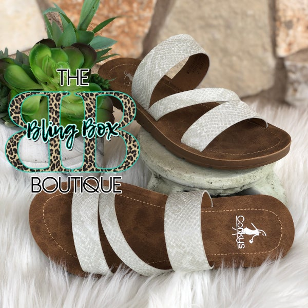 Corkys Lydia White Snake Sandals