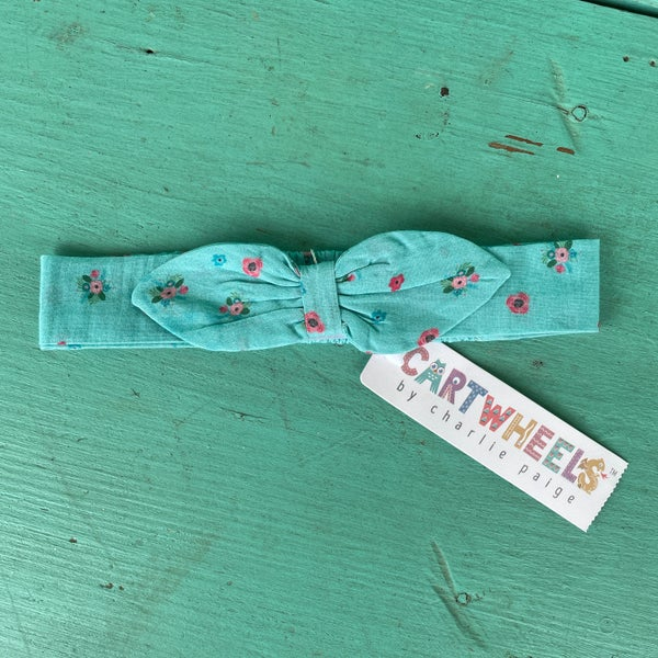 Baby Headband Turquoise Floral Print