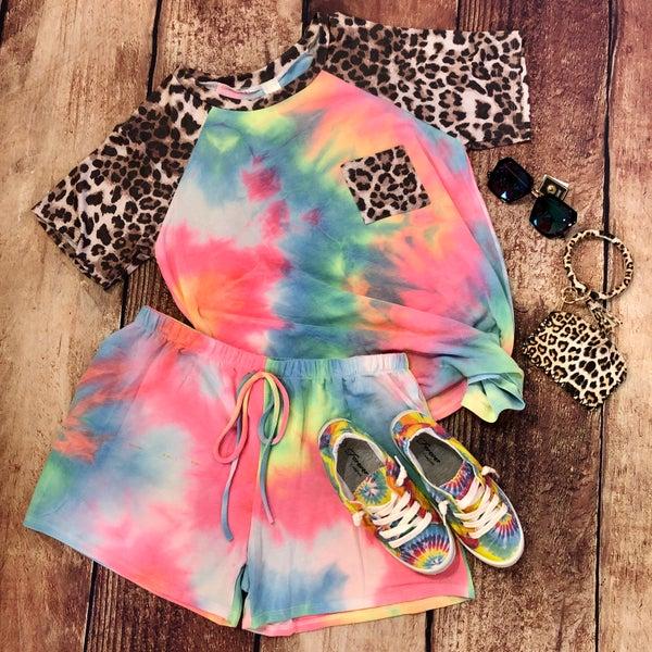 PLUS Neon Tie Dye Leopard Short Set