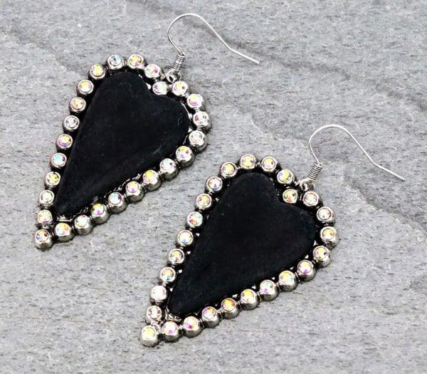 Black Heart AB Studded Earrings