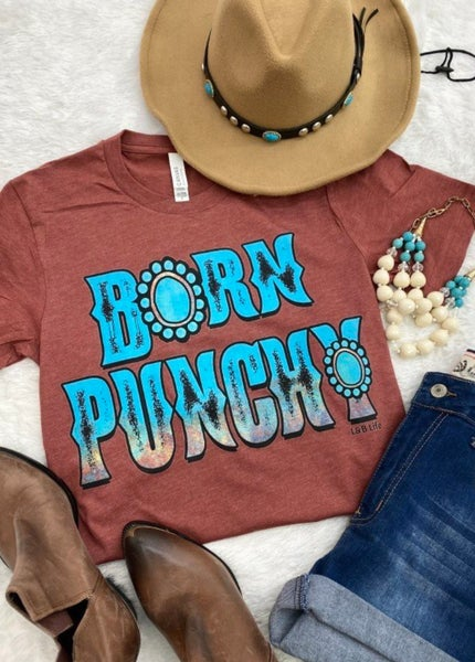 Born Punchy Turquoise Stone on Rust Tee