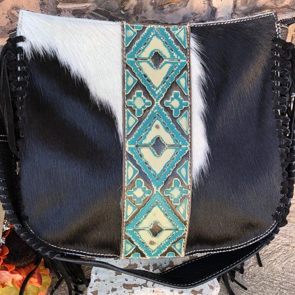 Trinity Ranch Hair-On Hide Leather Aztec Hobo Handbag