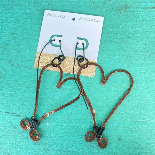 "Bonnie Angela Large Bronze Heart Black Wired Wrapped 4"" L x 2"" W Earrings"