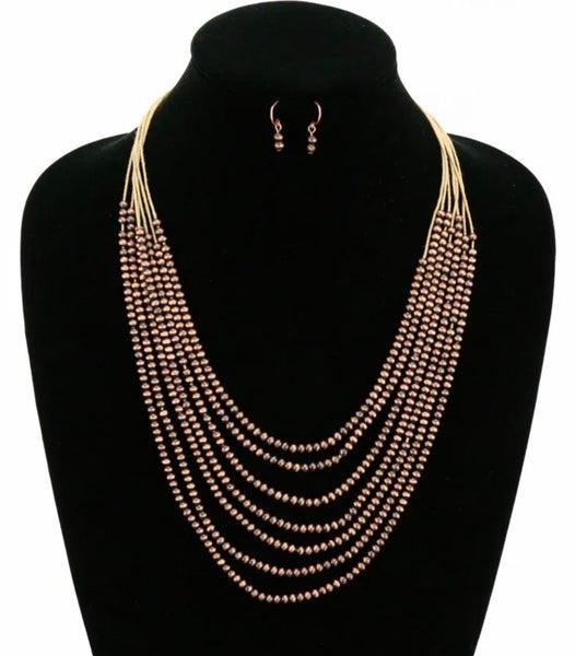 Bronze 7-Strand Skinny Navajo Pearl Necklace Set
