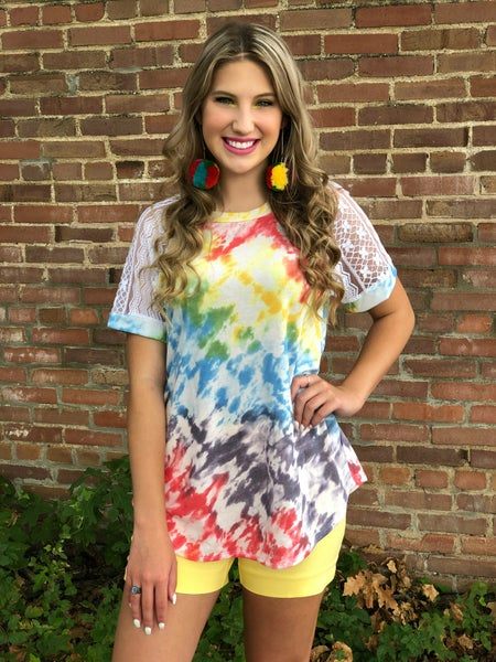 French Terry Rainbow Tie Dye Lace Sleeve Top