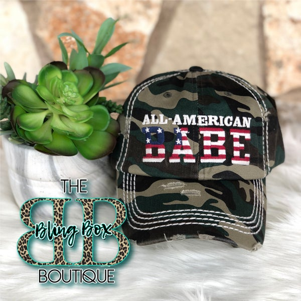 All American Babe Camo Embroidered Hat