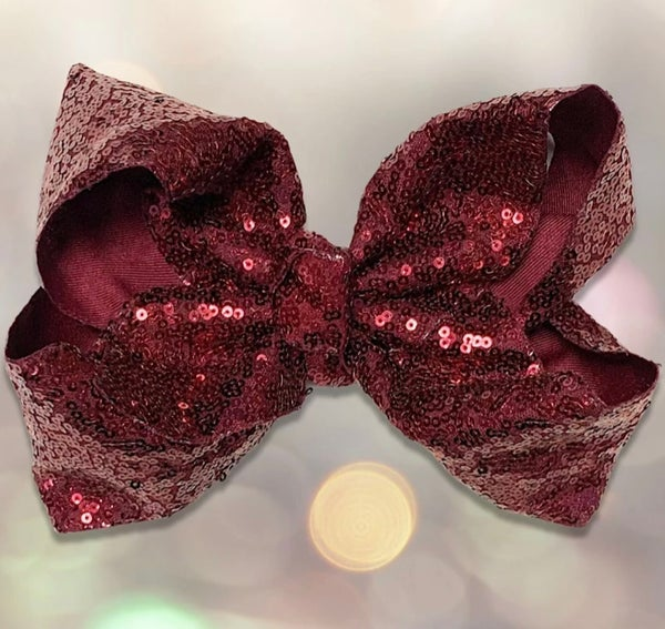 "Maroon Sequin 7.5"" Hair Bow"