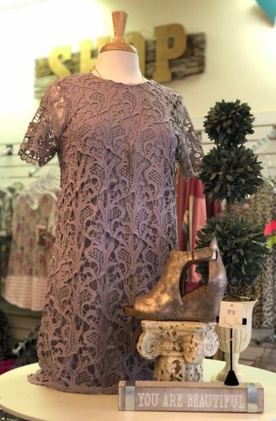 Lilac Gray Lace Short Sleeve Shift Dress