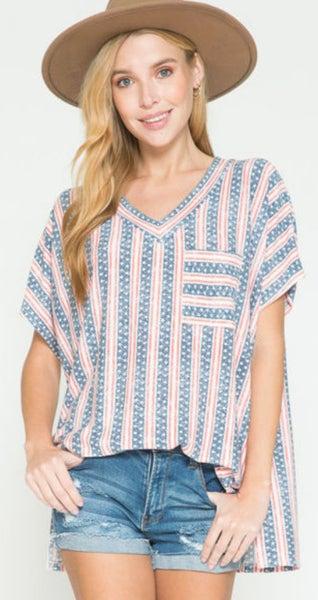 Stars & Stripes Patriotic V-Neck Oversized Tunic
