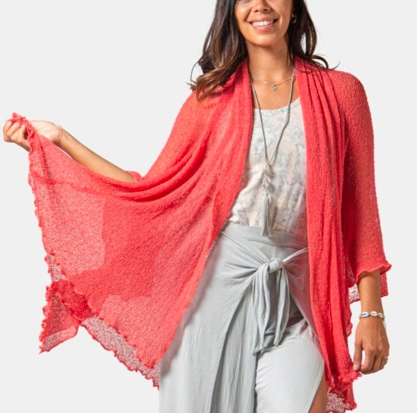 Coral Soul Warmer Woven Cardigan - ONE SIZE