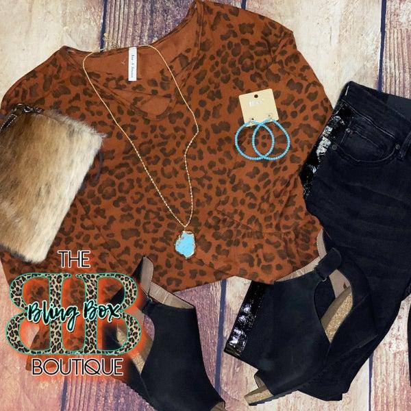 Rust Leopard Criss Cross Ruffle Sleeve Top
