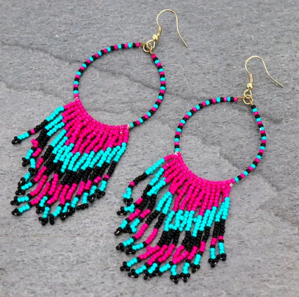 The Teal Mix Western Seed Bead Fringe Earrings