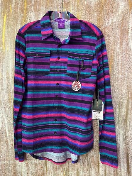 Purple Serape Sport Jersey Pullover Button Up Top